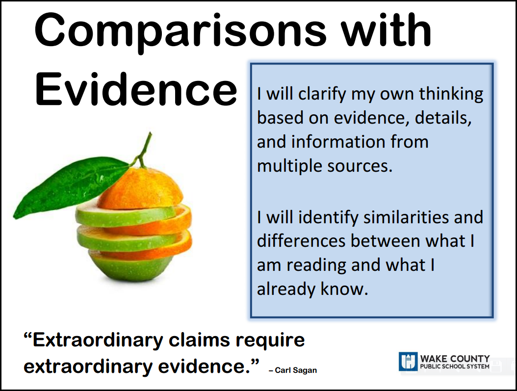 comparisons with evidence